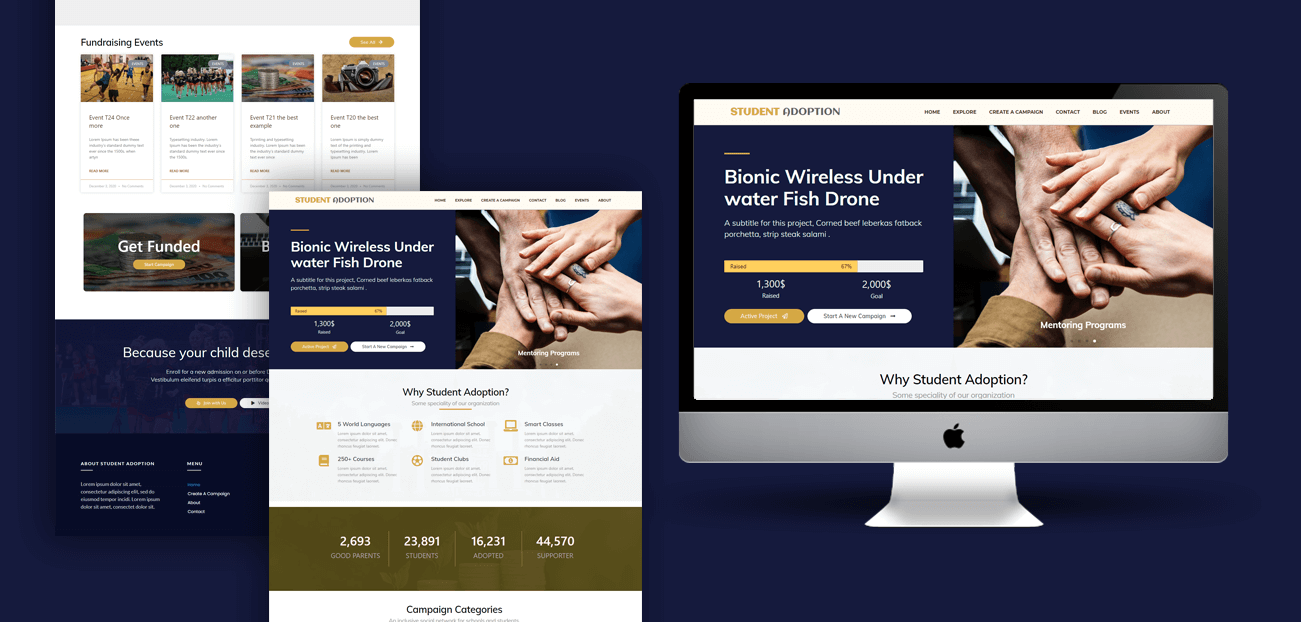 Non Profit website for Student Adop